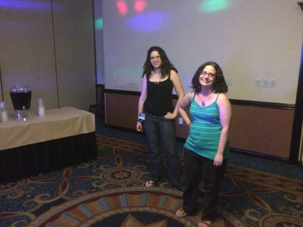 Lesley Conner and Awesome Dawn wait patiently for the party to begin.