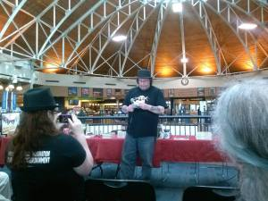 Gary A. Braunbeck introducing me. I want his hat. --Photo credit Nicole Platania--